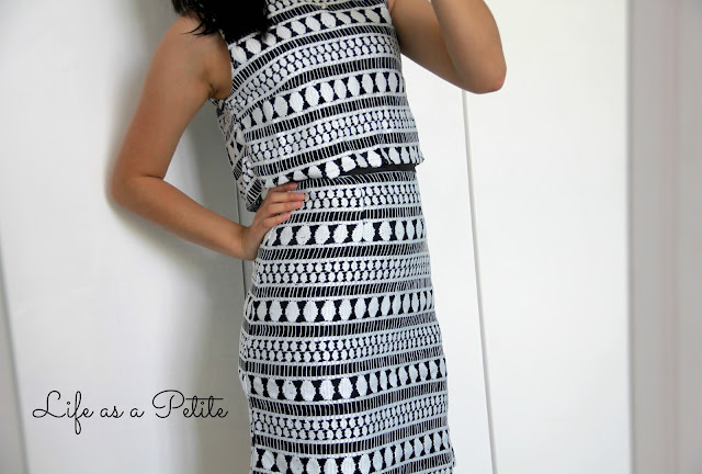 Monochrome Black and White Crop Top Double Layered Cut Out Dress - Petite Outfit Idea - Life as a Petite (lifeasapetite)