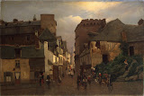 City Street with a Procession by Oskar Conrad Kleineh - Cityscape paintings from Hermitage Museum