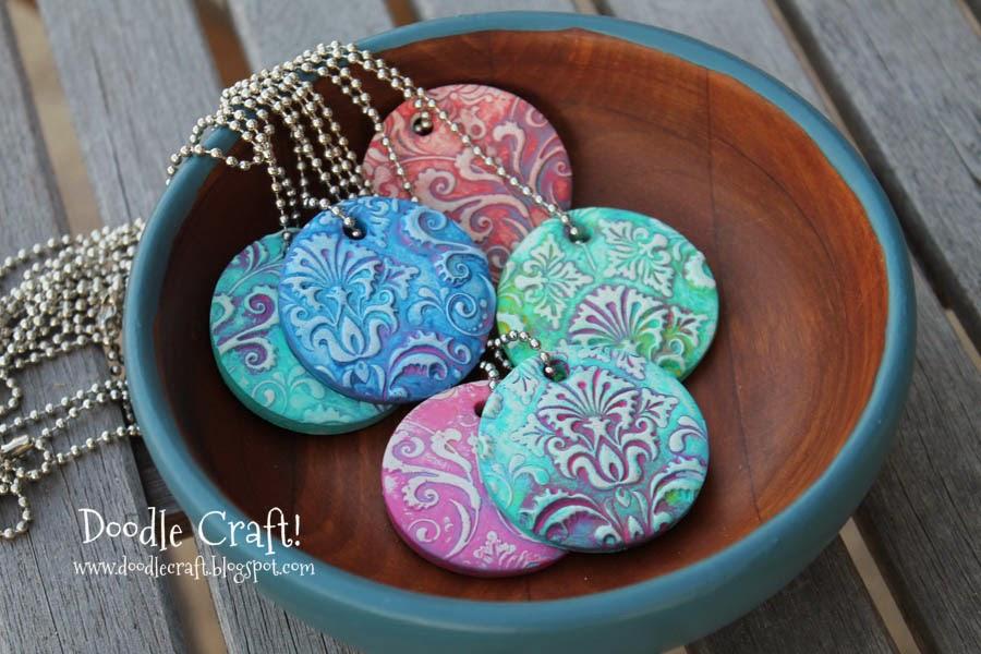 Doodlecraft damask polymer clay pendants damask polymer clay pendants mozeypictures Gallery