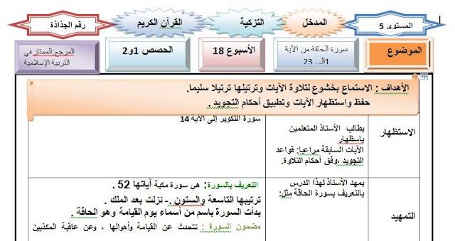جذاذات التربية الإسلامية :المستوى 5 الأسبوع 18(التزكية :قرآن كريم +عقيدة)