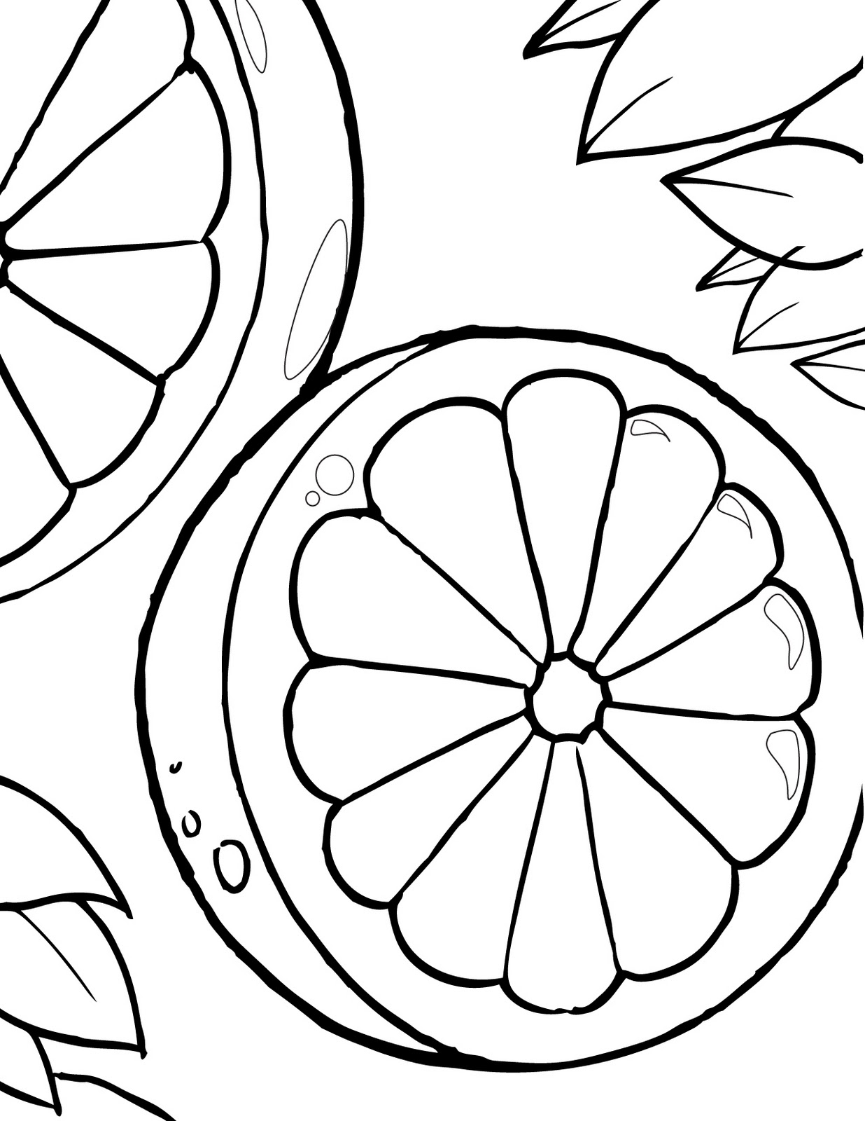 Free Oranges Coloring Pages