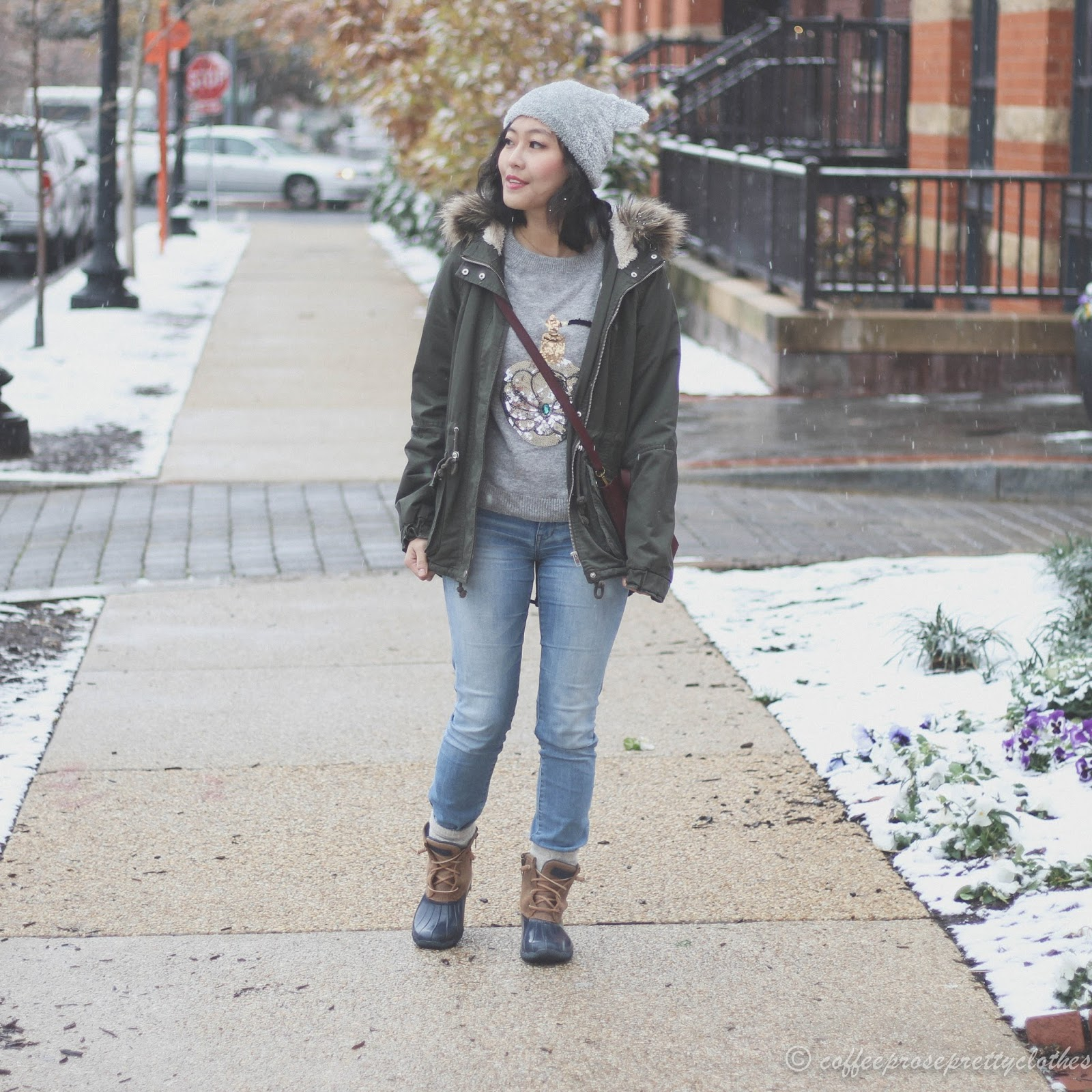 H&M sequin sweater, Sperry Sweetwater Duck boots, Cat Beanie