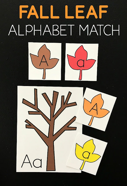 FREE Fall Leaf Alphabet Letters Printable is a fun, low prep alphabet match activity to help preschool, prek, kindergarten age practice uppercase lowercase matching.  (alphabet match game, homeschool, fall centers)