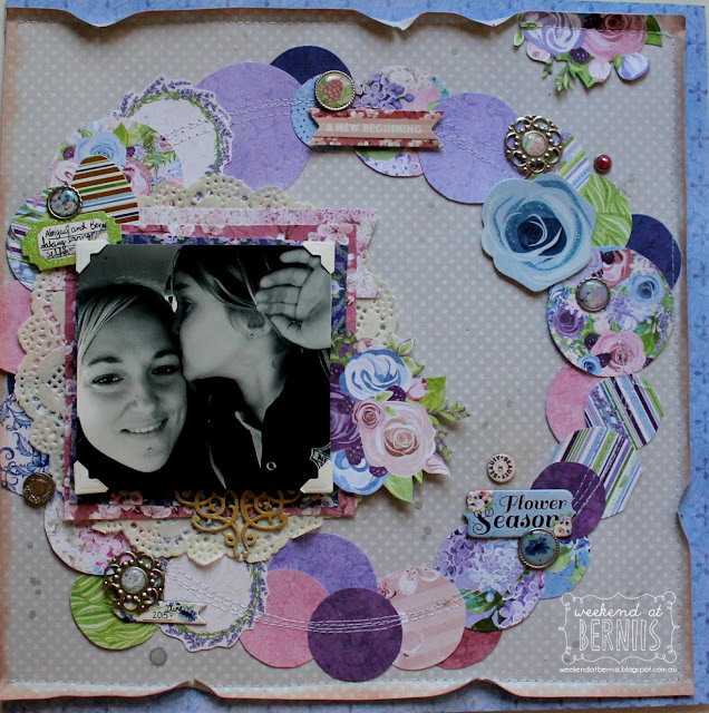 """ Flower Season"" layout by Bernii Miller for BoBunny using the Secret Garden collection."