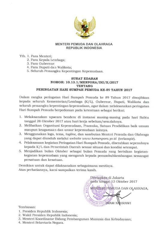 "Peringatan Hari Sumpah Pemuda Ke-89 Tahun 2017 Usung Tema ""Pemuda Indonesia Berani Bersatu"""
