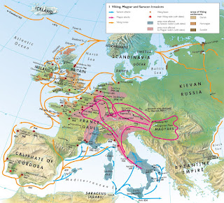 Mapa incursiones vikingas en Europa