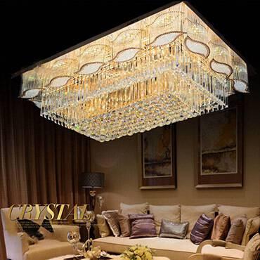 Trang trí không gian phòng khách với mẫu đèn led ốp trần