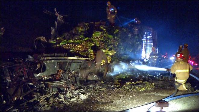 bakersfield big rig collision truck fire bob comaduran highway 58