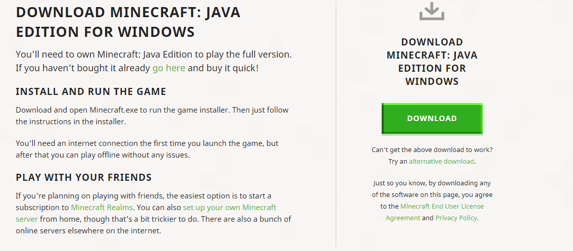 cara mendownload minecraft java pc gratis demo anvinus