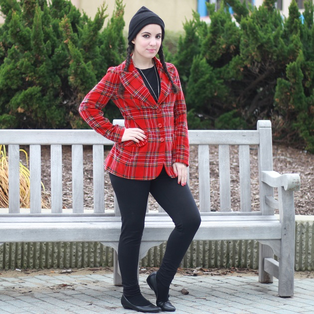 Red Plaid Velvet jacket