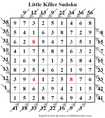 Little Killer Sudoku (Daily Sudoku League #144) Puzzle Solution