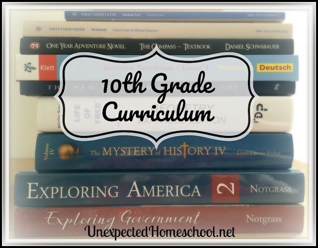 Unexpected Homeschool 10th Grade Curriculum Summary