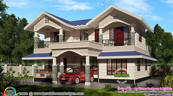 2100 sq-ft typical Kerala sloping roof