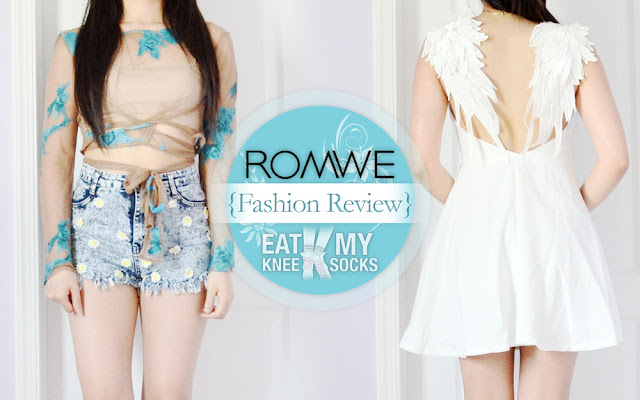 I was looking through my old posts the other day and realized it's been almost half a year since my last Romwe fashion review, so today I'm back with a new review of two unique pieces from Romwe, including an embroidered floral mesh top crop and white angel wings skater dress! Continue reading for the full details! - Eat My Knee Socks/Mimchikimchi