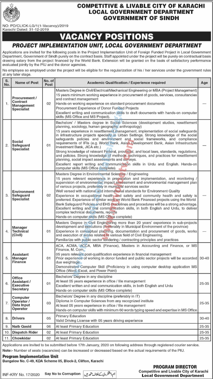 👉 #Jobs - #Career_Opportunities - at Competitive & Livable City of Karachi - Govt of Sindh  - Details on link...