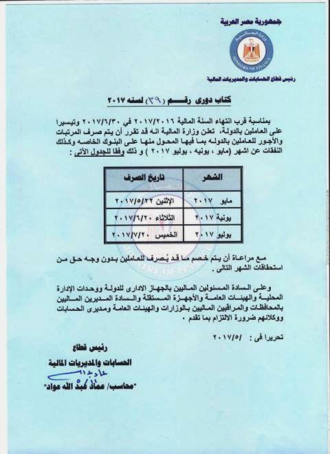 مرتبات الموظفين قبل شهر رمضان وتشمل العلاوه 10% وزيادة قدرها 715 جنيه كحد ادنى و1320 كحد اقصى للمعلمين والعاملين بالدولة