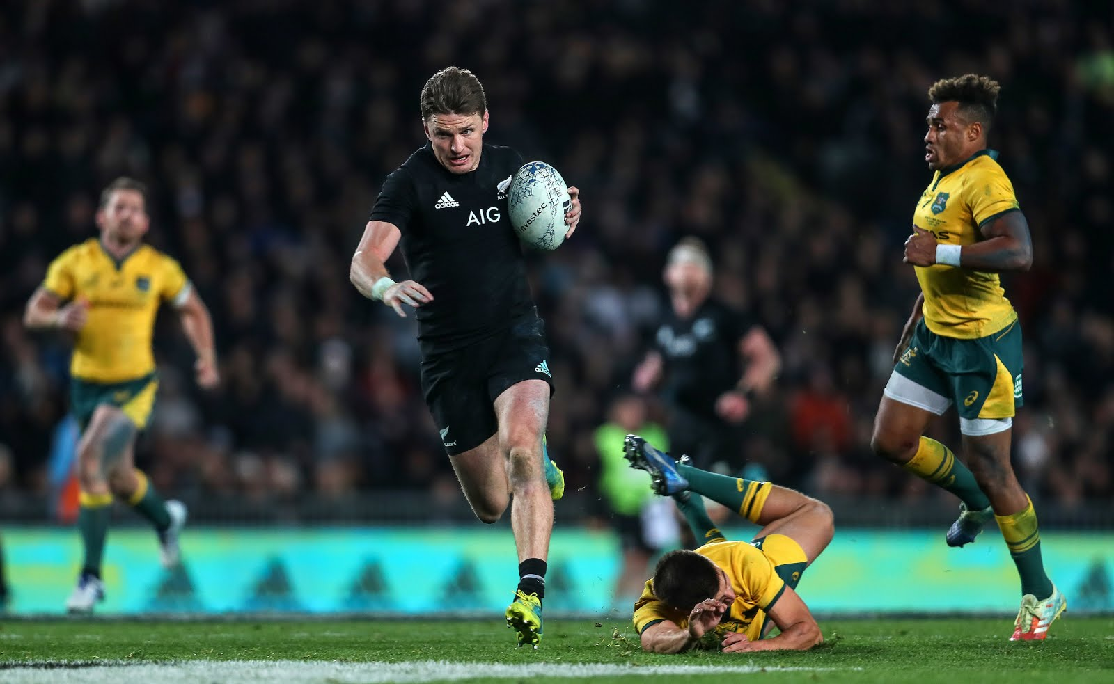 Beauden Barrett in action during the Bledisloe Cup and Rugby Championship rugby match between the New Zealand All Blacks and Australia Wallabies at Eden Park in Auckland, New Zealand on Saturday, 25 August 2018.