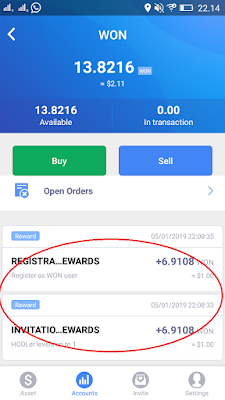 bonus pendaftaran dari Aplikasi WON Android