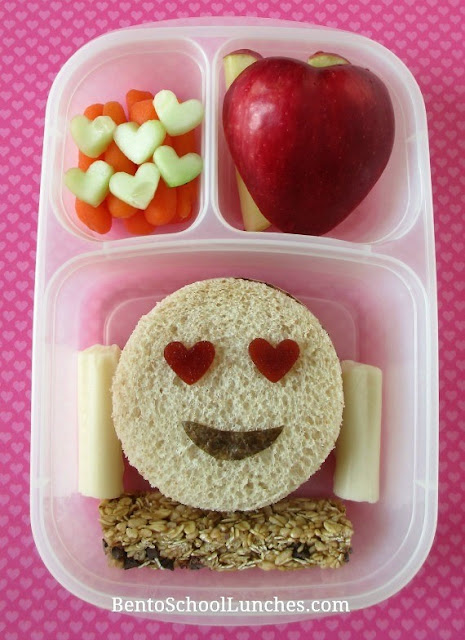 Smiley Face EMOJI Valentine's Day fun school lunch.