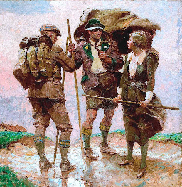 a Dean Cornwell color illustration of three hikers talking on a windy hill, two men and a woman