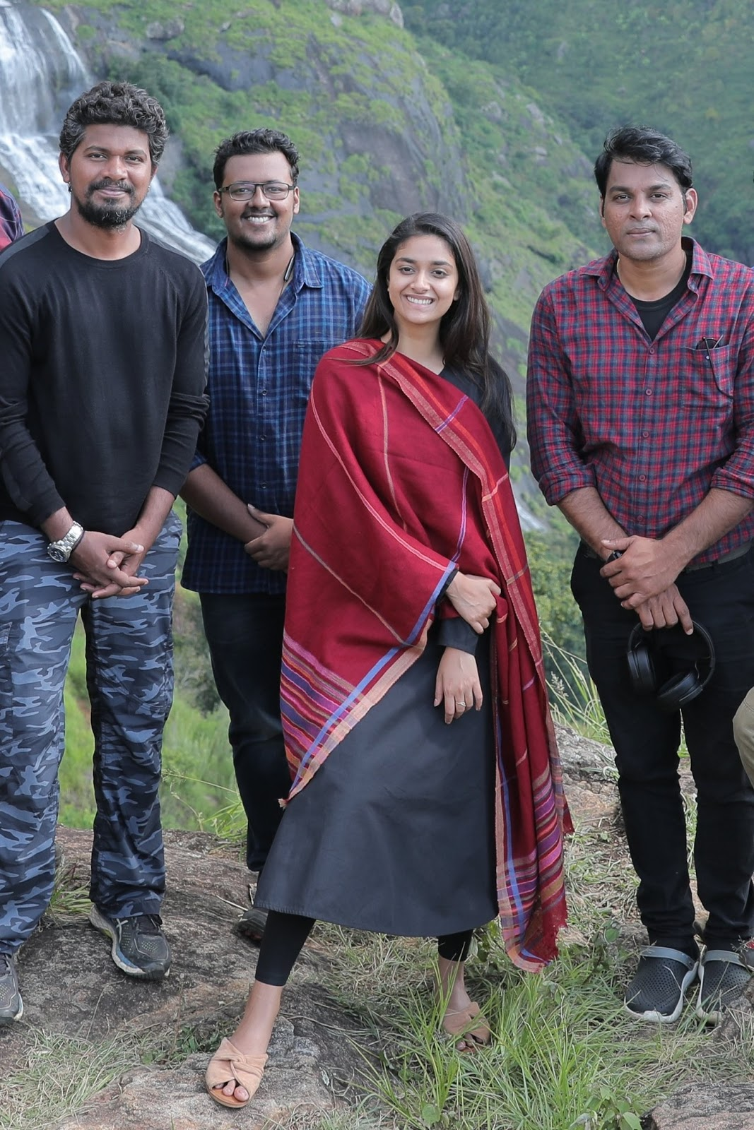 Keerthy Suresh with Cute and Awesome Lovely Smile with Penguin Team While Shooting 1