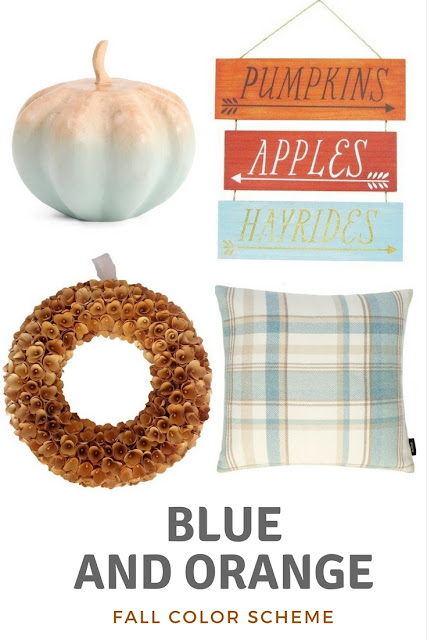 blue and orange fall decorating ideas