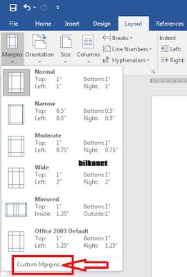 Cara Mengatur Margin Pada Microsot Word - Langkah 3