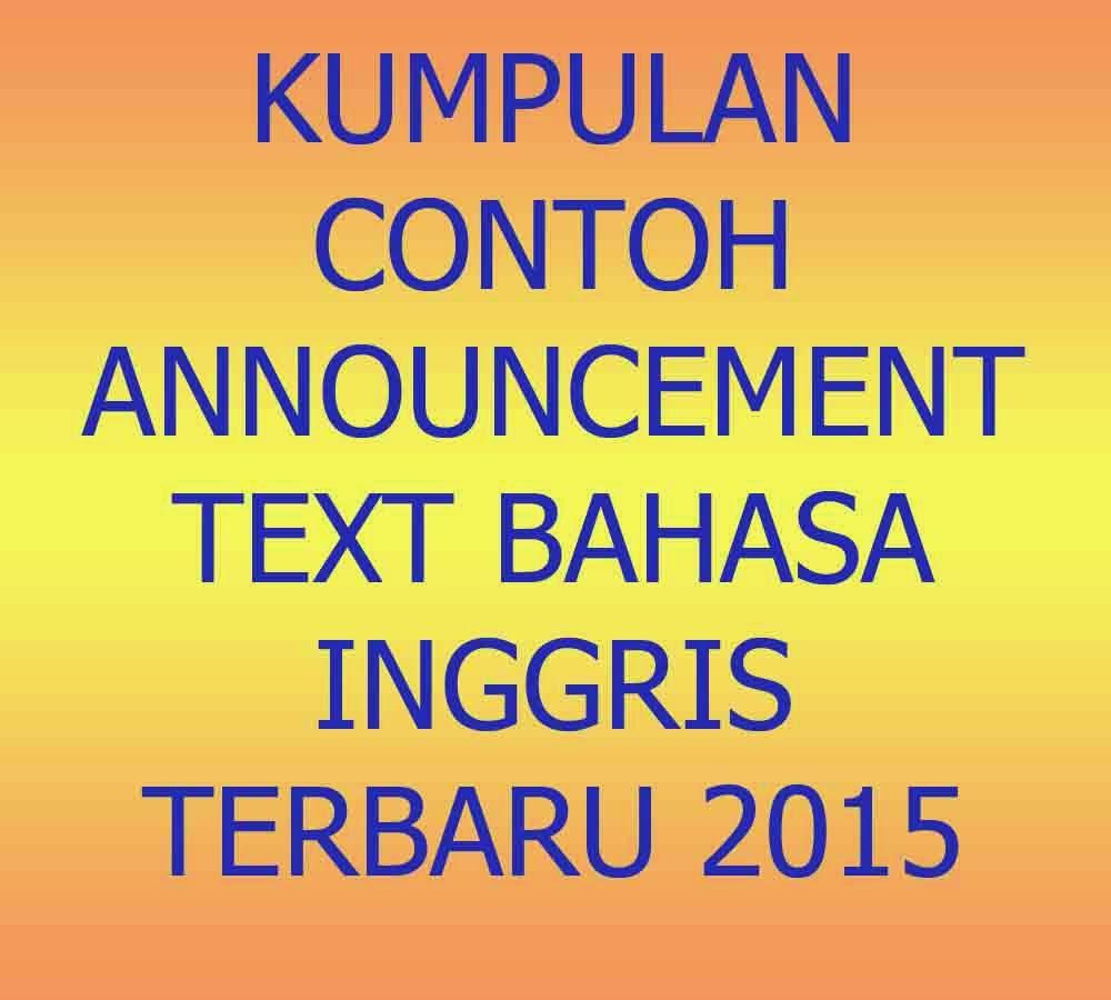 Kumpulan Contoh Announcement Text Bahasa Inggris Terbaru 2015