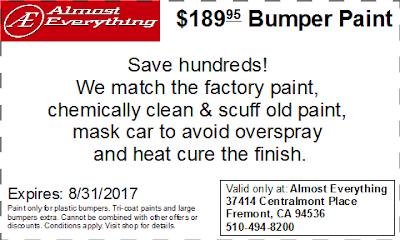 Discount Coupon $189.95 Bumper Paint Sale August 2017