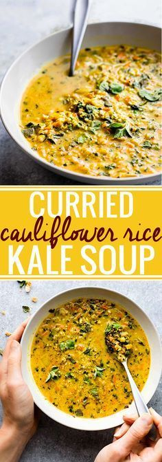 Curried Cauliflower Rice Kale Soup {Paleo, Vegan, Whole30}