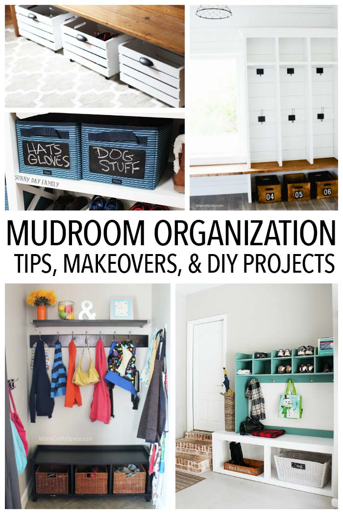 Organize your mudroom or entryway with these easy tips, inspiring makeovers, and DIY projects! Home Organization | Declutter | Mudroom Organization | Foyer Organization | Mudroom Storage | Storage Benches | DIY Storage