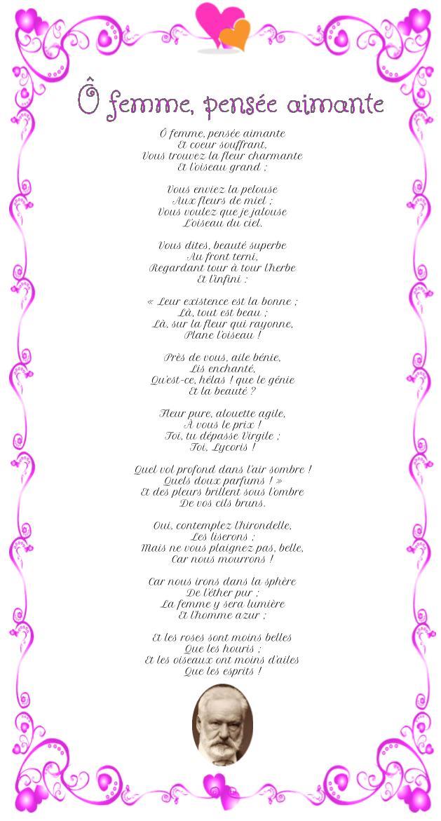 Poème : Ô femme, pensée aimante de Victor Hugo