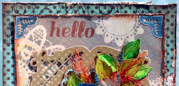 Hello Greeting Card by Denise van Deventer using BoBunny Somewhere in Time Collection
