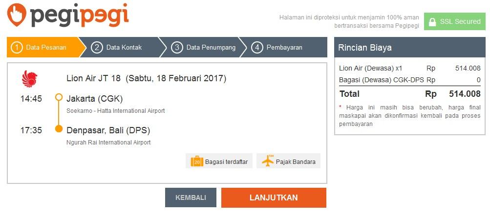 Detail pemesanan tiket pesawat