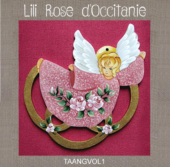 """Tri-fils bois peint: 3 anneaux dorés semés de roses & ange """"Envol"""". Broderie et point de croix"""