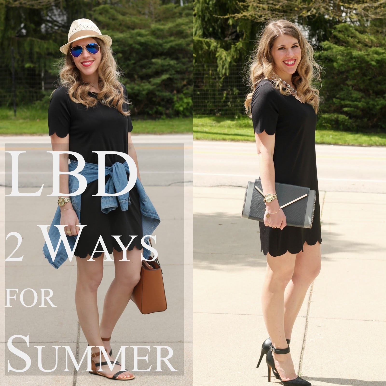 little black dress 2 ways for summer, casual little black dress, dressy little black dress, scalloped little black dress