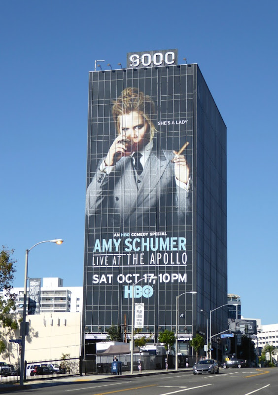 Giant Amy Schumer Live Apollo billboard Sunset Strip