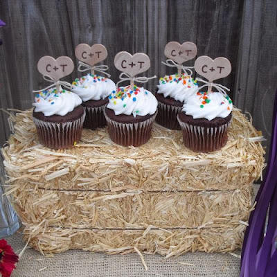 cupcakes on a bale of hay
