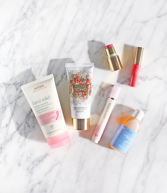 Beauty Review, Aveda Hand Relief Moisturizing Creme, Kicho Camellia Sleeping Pack, Beautycounter for Target Color Story Set,  DHC Beauty Lift Eye Care Essence Roll-On, Mirai Clinical Purifying & Deodorizing Body Wash