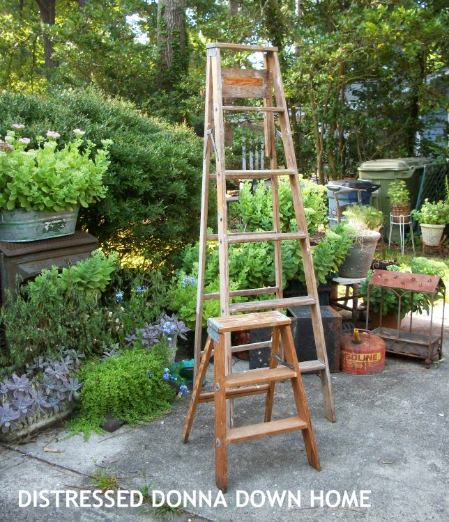 wooden ladder makeover, painted ladders