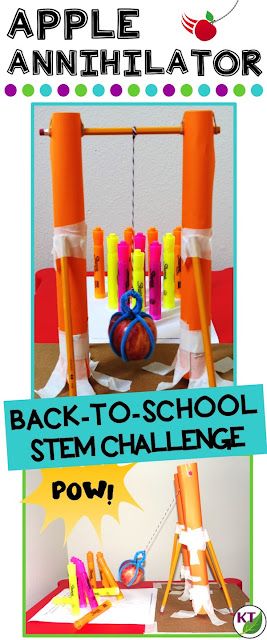 Back-to-School STEM Challenge: In Apple Annihilator, students build an apple wrecking ball! This challenge is perfect for studies of forces and motion and includes modifications for grades 2-8.