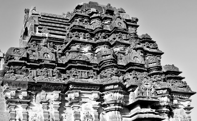 Sculptures on the Shikara of the Suryanarayana temple in black and white