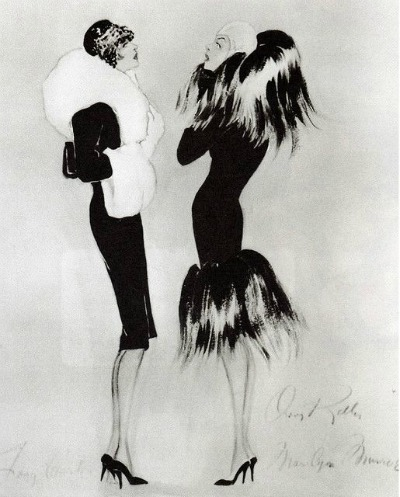 Orry-Kelly Costume Sketch for 1959 Some Like It Hot Best Costume Design in Black and White