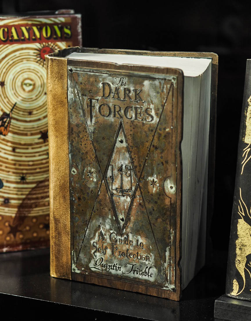 The Dark Forces text book at Hogwarts in the Snow at Warner Brothers Studio Tour, London