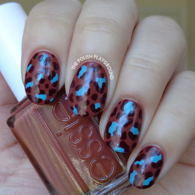 Matte Neutral and Turquoise Leopard Print Nail Art