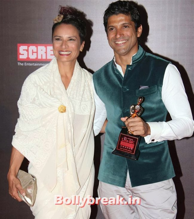 Adhuna Akhtar and Farhan Akhtar, Bollywood Wags at Screen Awards 2014