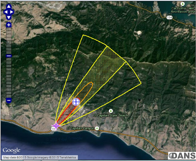 Marplot Map showing Hydrogen Sulfide from the spill point appears in purple, extending to the Threat Point 2 miles downwind (blue cross) and beyond, as indicated.