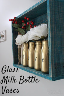 Love is in the Air, a Blog With Friends group post | Glass Milk Bottle Vases by Kristin of Little Mama Jama | Presented on www.BakingInATornado.com | #DIY