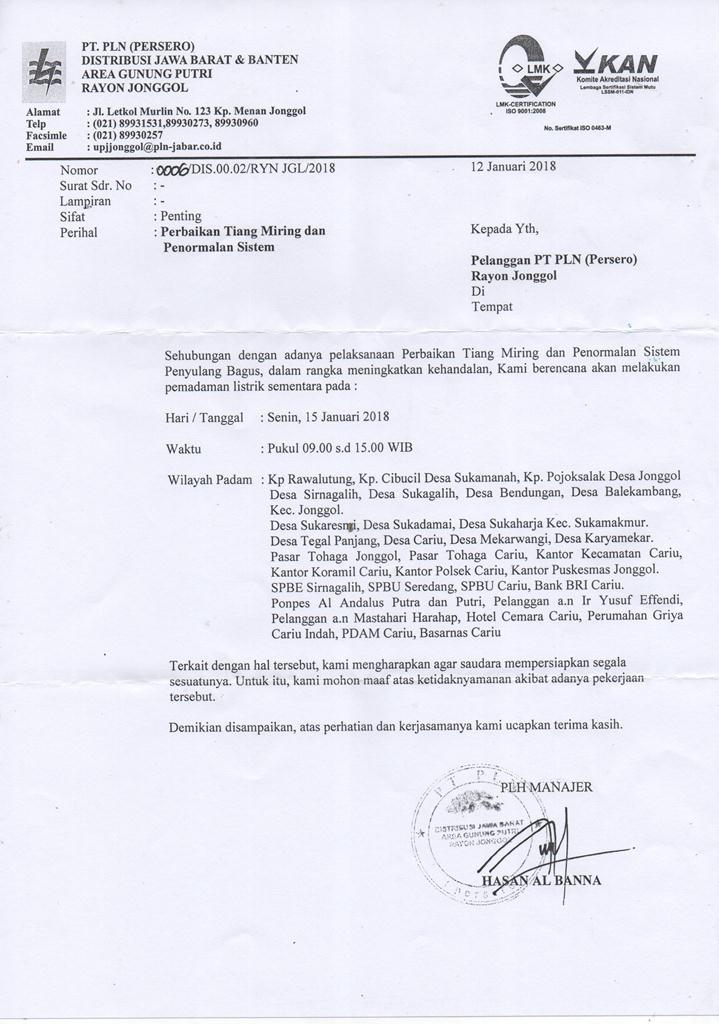 Contoh Surat Pemberitahuan Pemadaman Listrik Folder