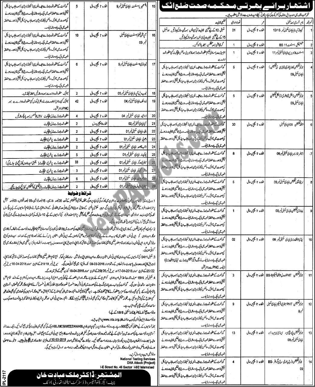 Latest New 2018 NTS Jobs in District Health Authority Attock (234 Vacancies)